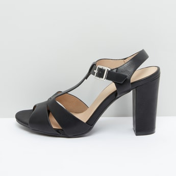 Block Heel Sandals with Pin Buckle Closure