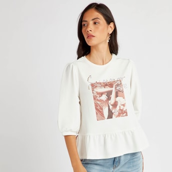 Graphic Print Round Neck Peplum Top with 3/4 Sleeves