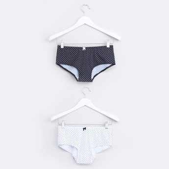 Printed Hipster Briefs with Elasticised Waistband - Set of 2