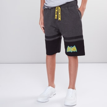 Batman Printed Shorts with Elasticised Waistband and Pocket Detail