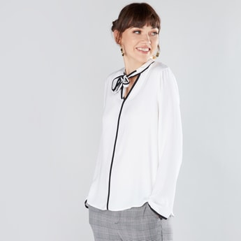 Pussy Bow Top with Long Sleeves and Piping Detail