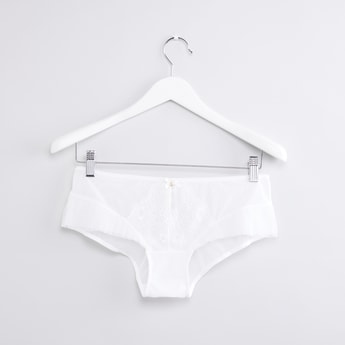 Lace and Bow Detail Boyleg Briefs with Elasticised Waistband