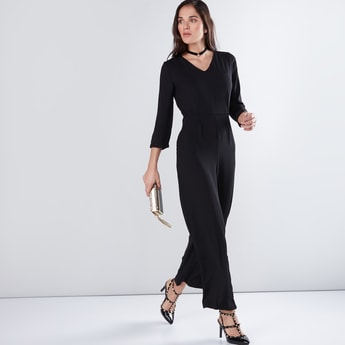 V-Neck Jumpsuit with 3/4 Sleeves and Tie Ups