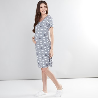Maternity Printed Sleep Dress with Short Sleeves