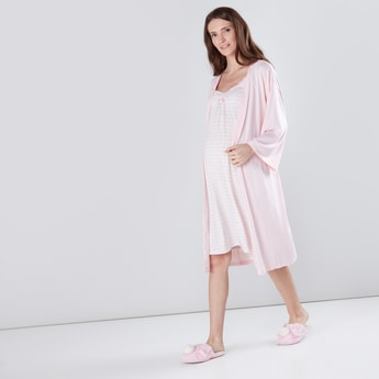 Maternity Striped Sleepshirt with Adjustable Straps & Robe