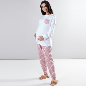Maternity Printed Pocket Detail T-Shirt and Pyjama Set