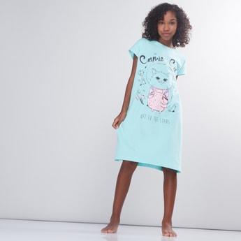 Printed Short Sleeves Sleepshirt