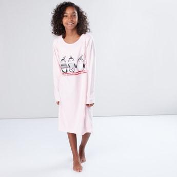 Printed Round Neck Long Sleeves Sleep Dress