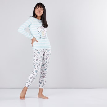 Hello Kitty Striped and Printed T-Shirt with Jog Pants