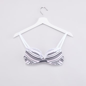 Striped Padded Plunge Bra with Hook and Eye Closure