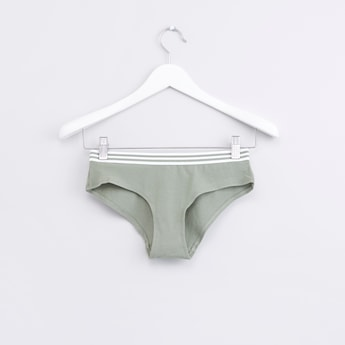 Hipster Briefs with Striped Elasticised Waistband