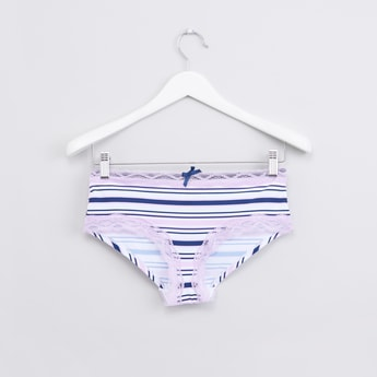 Striped Hipster Briefs with Elasticised Waistband and Lace Detail