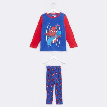Spider-Man Printed Long Sleeves T-Shirt and Pyjama Set