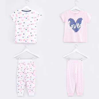 Printed T-Shirt with Pants - Set of 2
