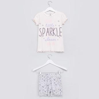 Printed Short Sleeves T-Shirt and Shorts Set