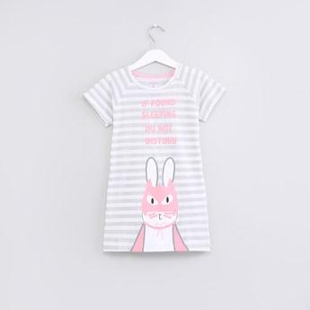 Printed Short Sleeves Sleep Dress