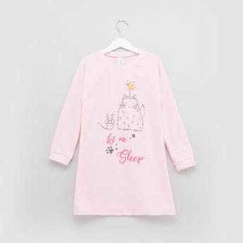 Printed Long Sleeves Sleep Dress