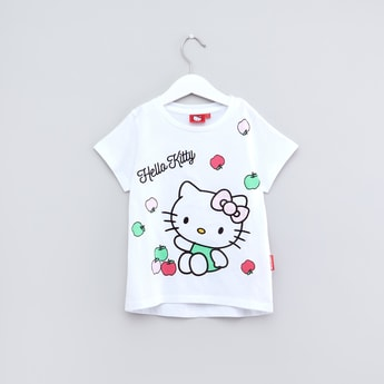 Hello Kitty Printed Short Sleeves T-Shirt with Jog Pants
