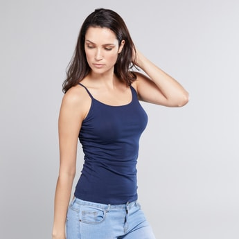 Textured Camisole with Scoop Neck and Spaghetti Straps