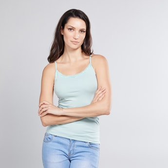 Textured Camisole with Spaghetti Straps and Lace Detail