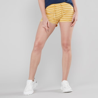 Mid Rise Striped Shorts with Drawstring