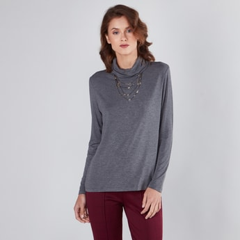 Melange T-shirt with Turtle Neck and Long Sleeves