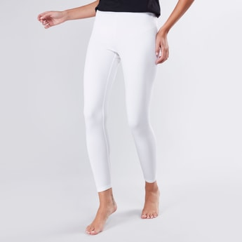 Ankle Length Solid Leggings with Elasticated Waistband
