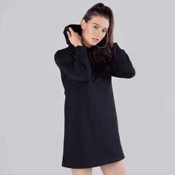 Plain Mini Shift T-shirt Dress with Long Sleeves and Hood