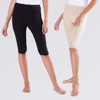 Set of 2 - Cropped Cotton Shaping leggings
