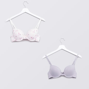 Set of 2 - Printed Plunge Bra with Hook and Eye Closure
