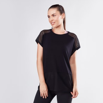 Boxy Round Neck T-shirt with Mesh Panels