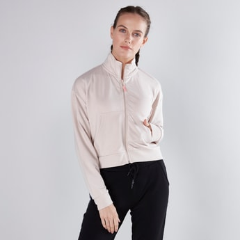Plain Jacket with Pockets and Long Sleeves