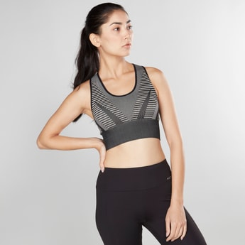 Printed Sports Bra with Scoop Neck