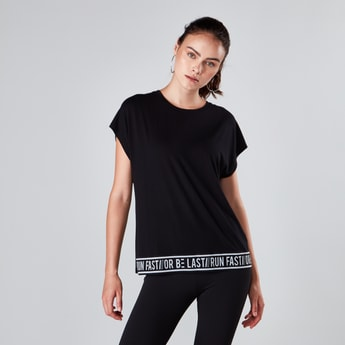 Tape Hem T-shirt with Round Neck and Extended Sleeves