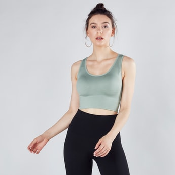 Textured Sports Bra with Cross Strap Pattern