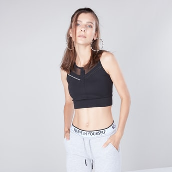 Solid  Sports Bra with Mesh Tape Inserts