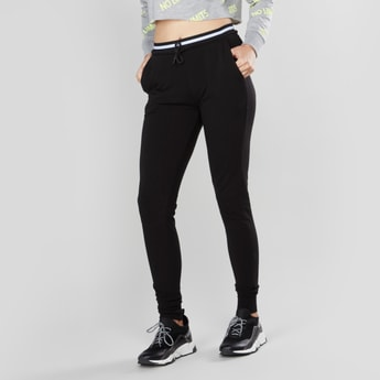 Solid Jog Pants with Cuffed Hems