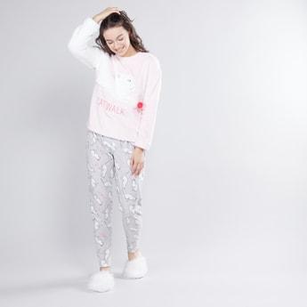 Round Neck T-shirt and Contrast Pyjamas Set