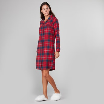 Checked Sleepshirt with Long Sleeves and Patch Pocket