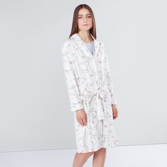 Cat Printed Robe with Long Sleeves and Tie Ups
