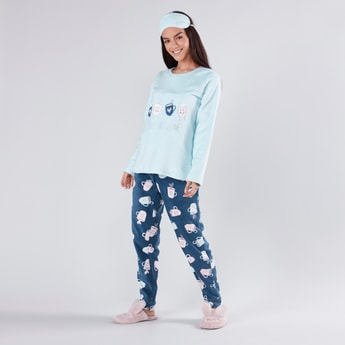 Textured Long Sleeves T-shirt and Full Length Pyjama Set
