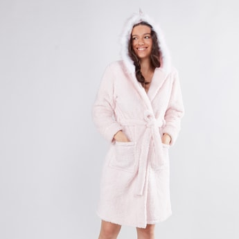 Textured Robe with Long Sleeves and Applique Detail