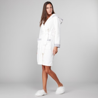 Textured Hooded Bath Robe with Front Knot Styling