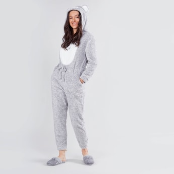 Textured Ankle Length Onesie with Long Sleeves
