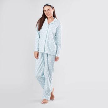 Printed Long Sleeves Shirt and Full Length Pyjama Set