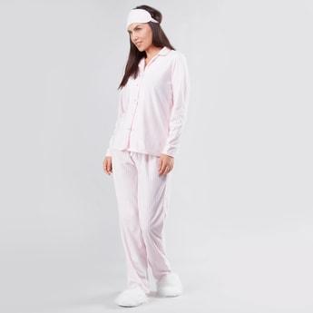 Striped Pyjama with Shirt and Eye Mask - Set of 3