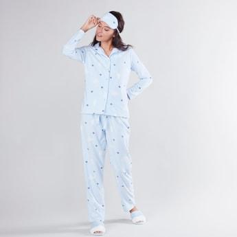 Printed Shirt and Pyjama Set with Eye-mask