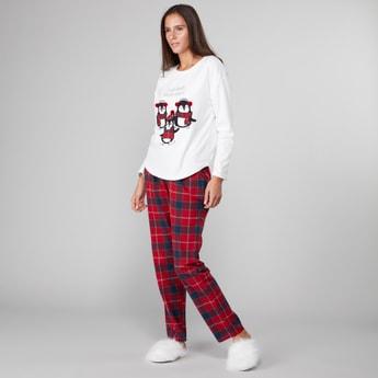 Printed Round Neck T-shirt and Checked Pyjama Set