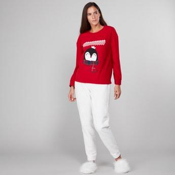 Textured Round Neck T-shirt and Jog Pants Set