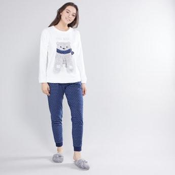 Round Neck T-shirt and Contrast Pyjama Set